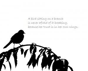 bird on branch with quote